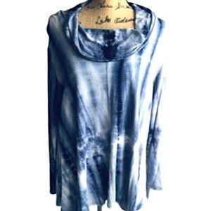 Cha Cha Vente Top Tunic Blue Tie Dye Cowl NWOT